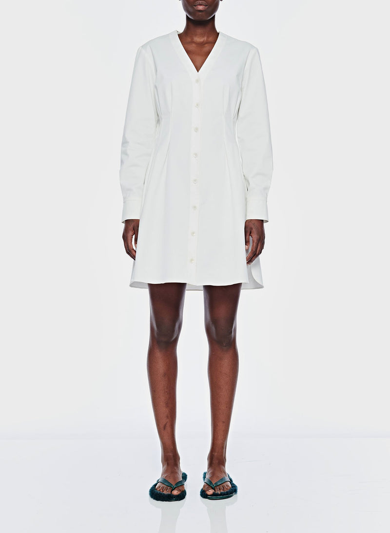 Dominic Twill Shirtdress White-1