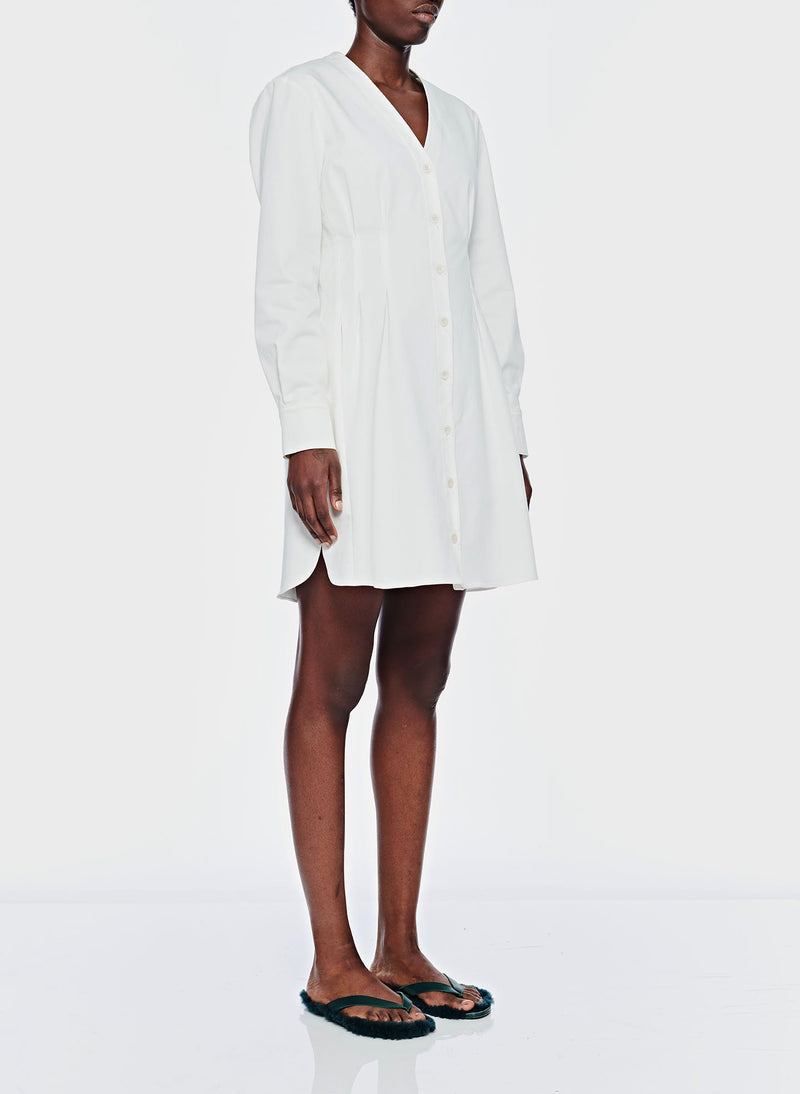 Dominic Twill Shirtdress White-2