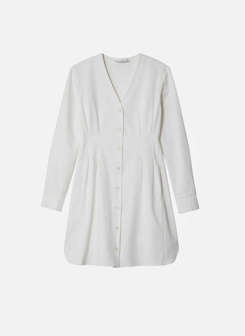 Dominic Twill Shirtdress White-5