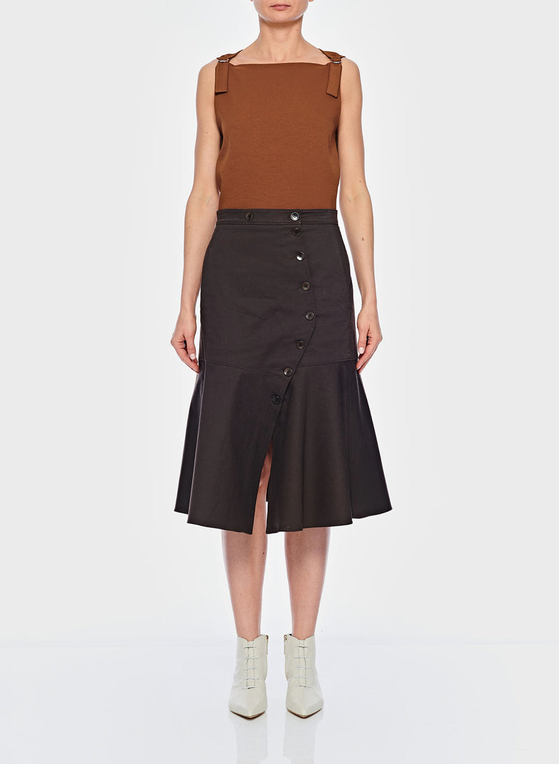 Dominic Twill Skirt Brown-1