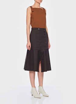 Dominic Twill Skirt Brown-3