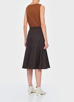 Dominic Twill Skirt Brown-4