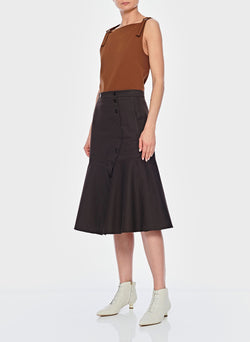Dominic Twill Skirt Brown-5
