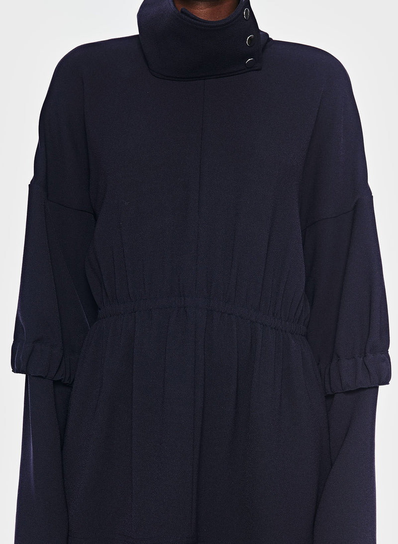 Esme Crepe Tunic Top Dark Navy-4