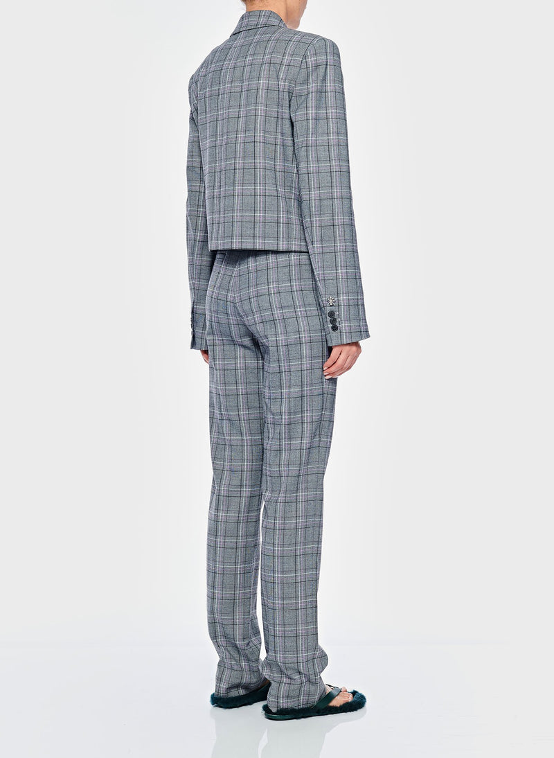 James Menswear Check Sebastian Pant Black/Lavender Multi-8