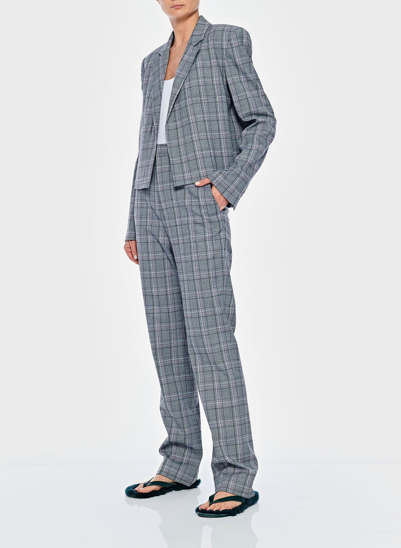 James Menswear Check Sebastian Pant Black/Lavender Multi-9
