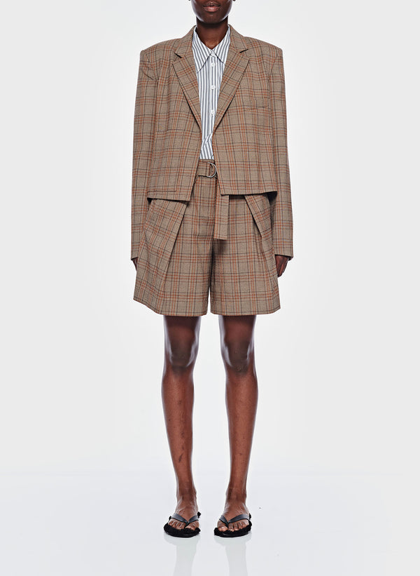 티비 체크 주름 반바지 Tibi James Menswear Check Pleated Shorts,Brown/Black Multi