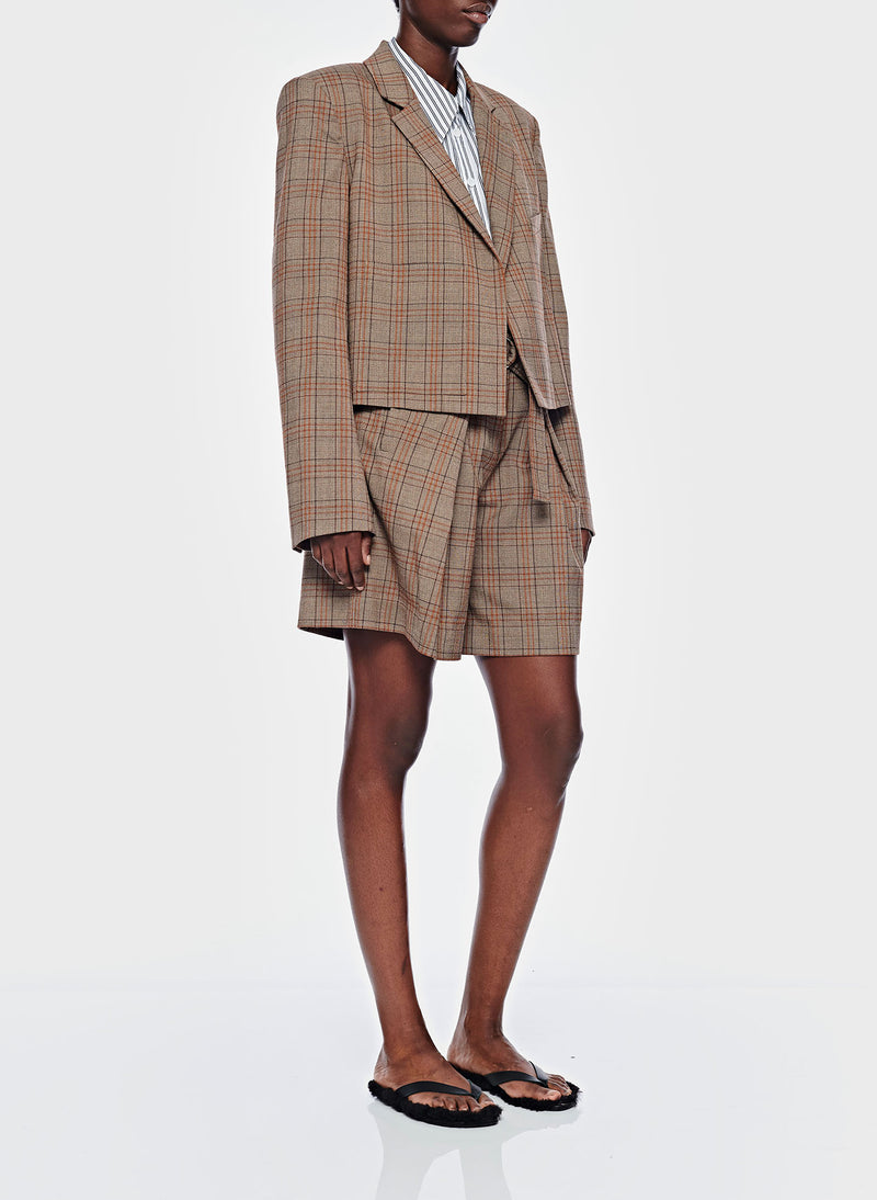 James Menswear Check Pleated Shorts Brown/Black Multi-4