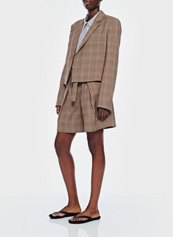 James Menswear Check Pleated Shorts Brown/Black Multi-6