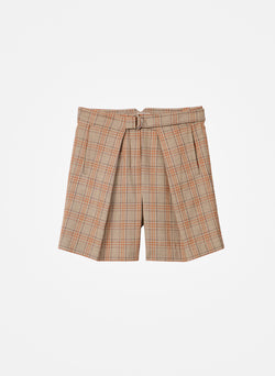James Menswear Check Pleated Shorts Brown/Black Multi-2