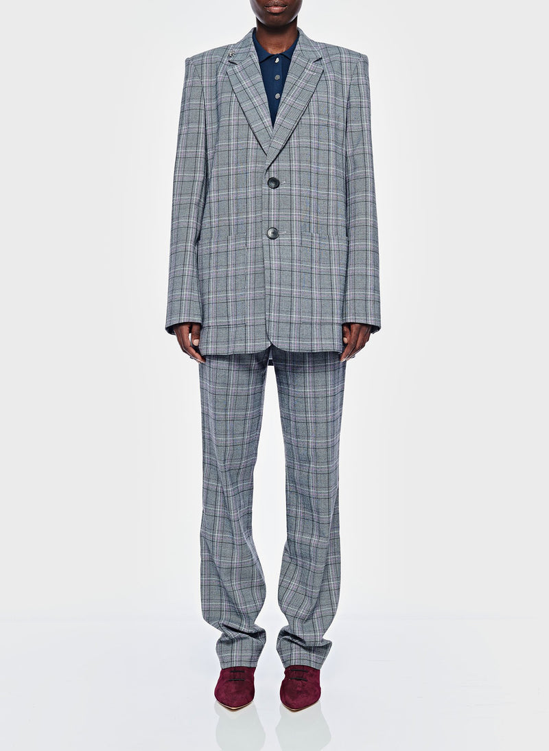 James Menswear Check Long Blazer Black/Lavender Multi-6