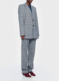 James Menswear Check Long Blazer Black/Lavender Multi-7
