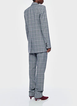 James Menswear Check Long Blazer Black/Lavender Multi-8