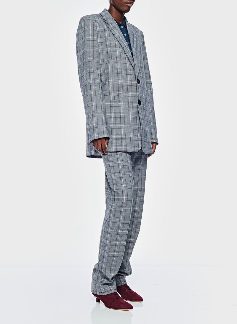 James Menswear Check Long Blazer Black/Lavender Multi-9