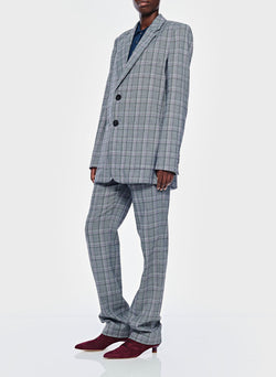 James Menswear Check Long Blazer Black/Lavender Multi-10