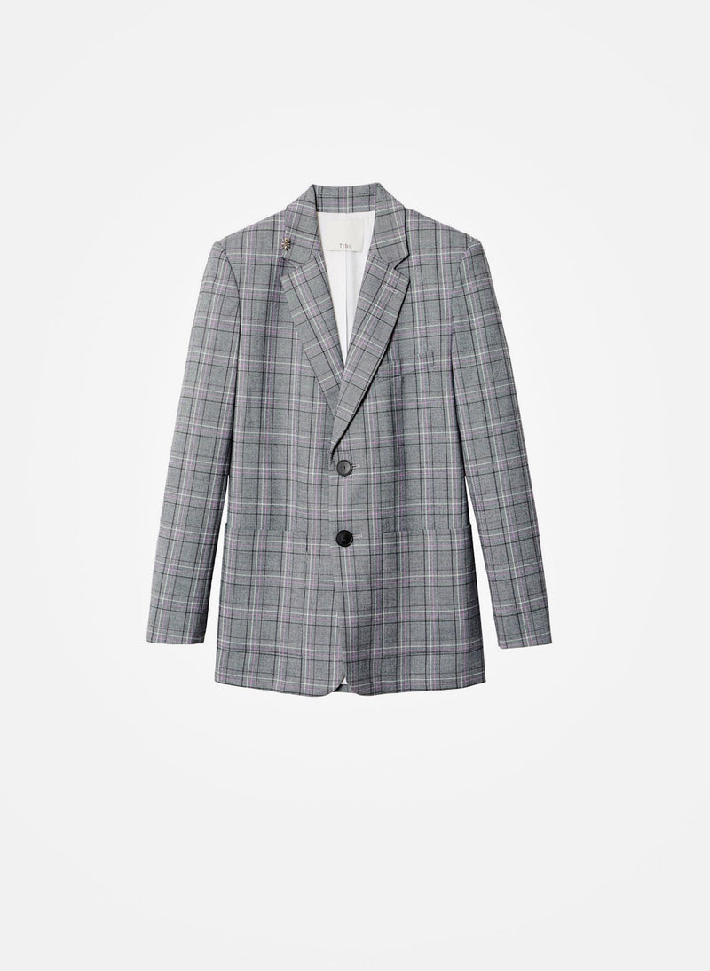 James Menswear Check Long Blazer Black/Lavender Multi-11