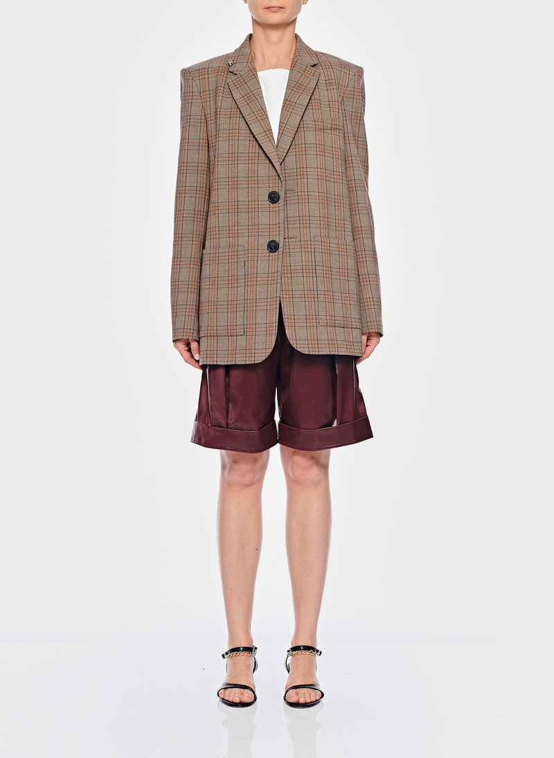 James Menswear Check Long Blazer Brown/Black Multi-1