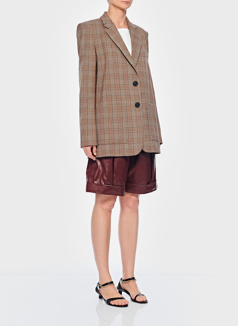 James Menswear Check Long Blazer Brown/Black Multi-2