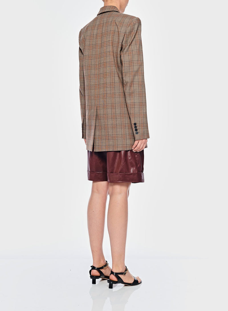 James Menswear Check Long Blazer Brown/Black Multi-3