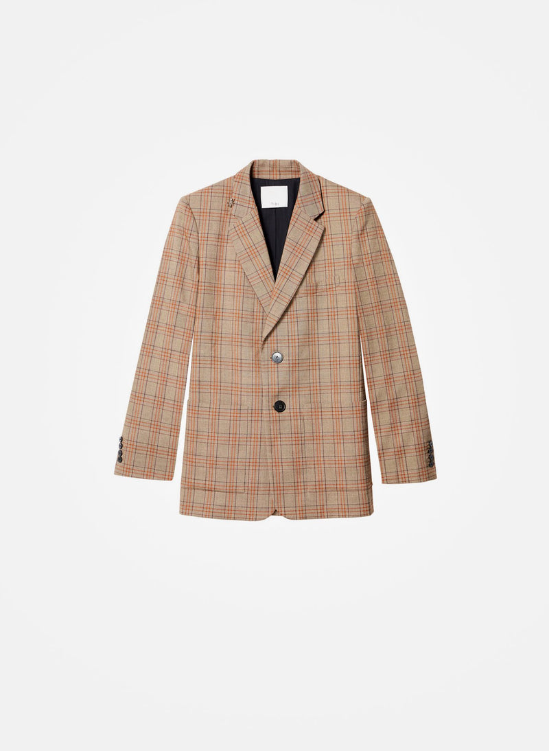 James Menswear Check Long Blazer Brown/Black Multi-5