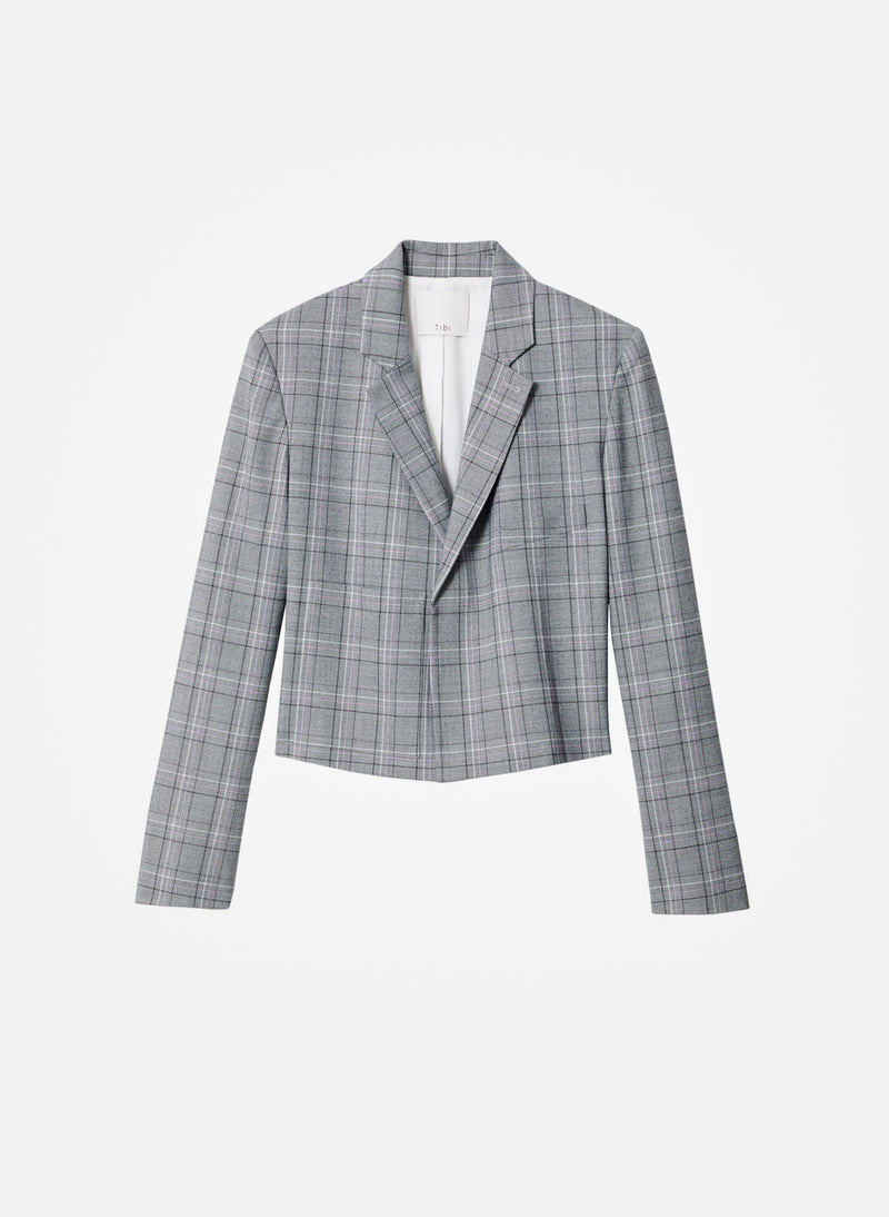 James Menswear Check Cropped Blazer Black/Lavender Multi-6