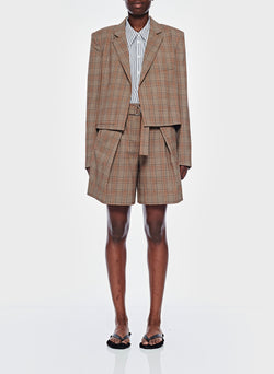James Menswear Check Cropped Blazer Brown/Black Multi-9