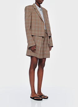 James Menswear Check Cropped Blazer Brown/Black Multi-10