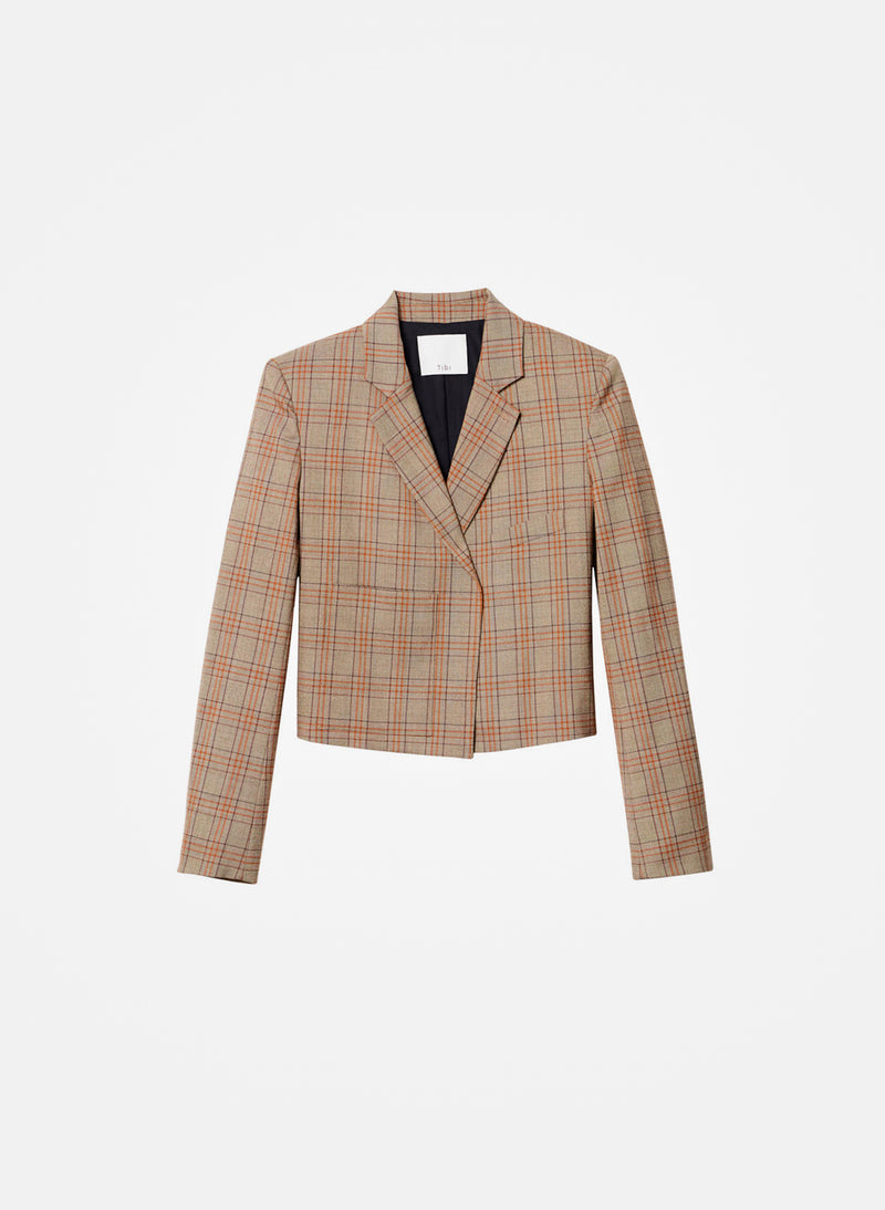 James Menswear Check Cropped Blazer Brown/Black Multi-15