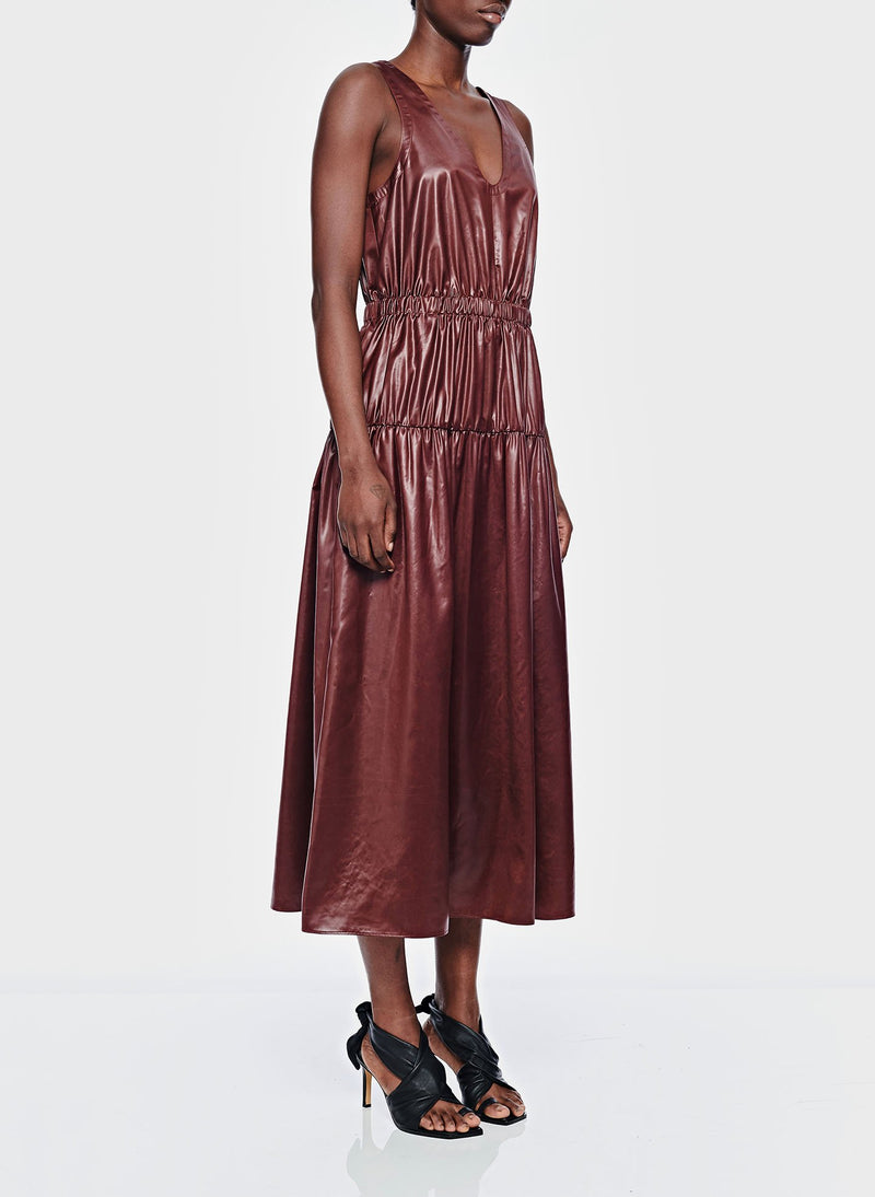 Liquid Drape Shirred Jumpsuit Burgundy-2