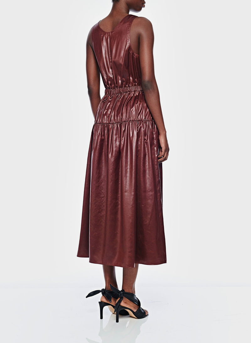 Liquid Drape Shirred Jumpsuit Burgundy-3
