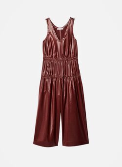Liquid Drape Shirred Jumpsuit Burgundy-5