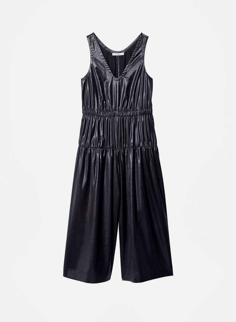 Liquid Drape Shirred Jumpsuit Pearl Black-10