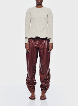 Liquid Drape Pleated Pant Burgundy-1