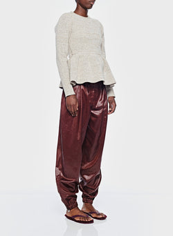 Liquid Drape Pleated Pant Burgundy-2