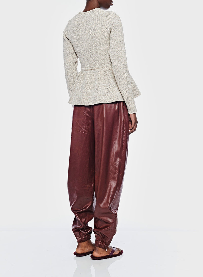 Liquid Drape Pleated Pant Burgundy-3