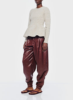 Liquid Drape Pleated Pant Burgundy-4