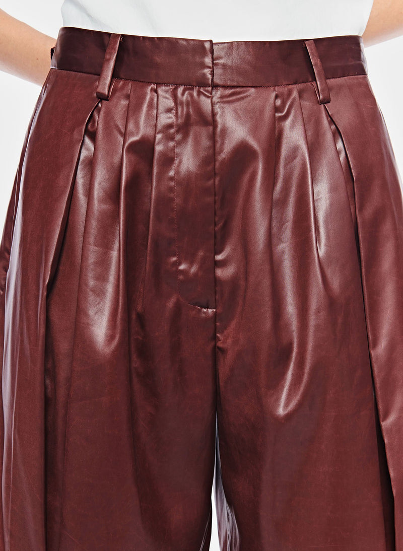 Liquid Drape Pleated Pant Burgundy-5