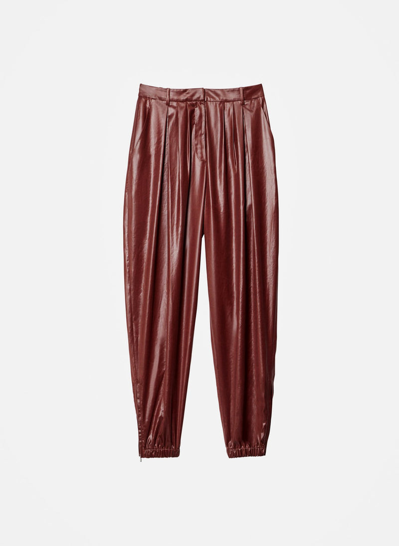 Liquid Drape Pleated Pant Burgundy-11