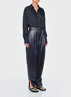 Liquid Drape Pleated Pant Pearl Black-10