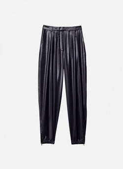 Liquid Drape Pleated Pant Pearl Black-5