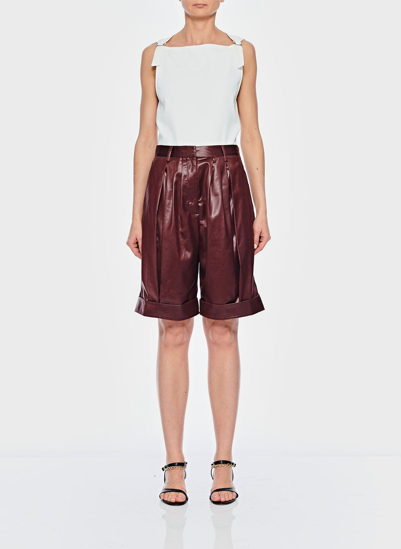Liquid Drape Pleated Shorts Burgundy-1
