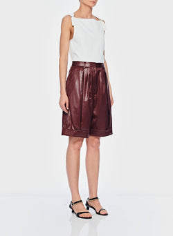 Liquid Drape Pleated Shorts Burgundy-2