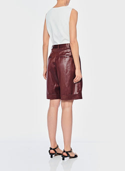 Liquid Drape Pleated Shorts Burgundy-3