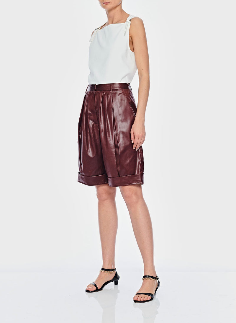 Liquid Drape Pleated Shorts Burgundy-4