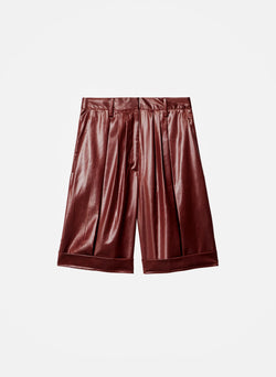 Liquid Drape Pleated Shorts Burgundy-5