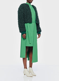 Faux Lamb Cropped Bomber Leaf Green-11