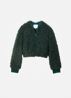 Faux Lamb Cropped Bomber Leaf Green-10
