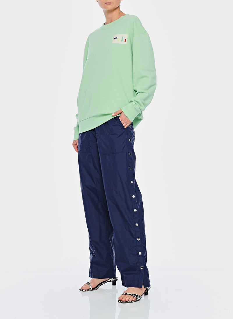 Nylon Pull On Snap Pant Navy-4