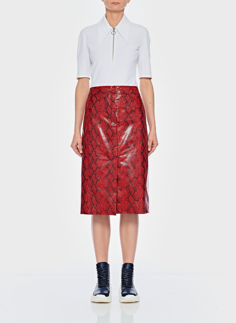 Python Croc Embossed Patent Skirt Red-1