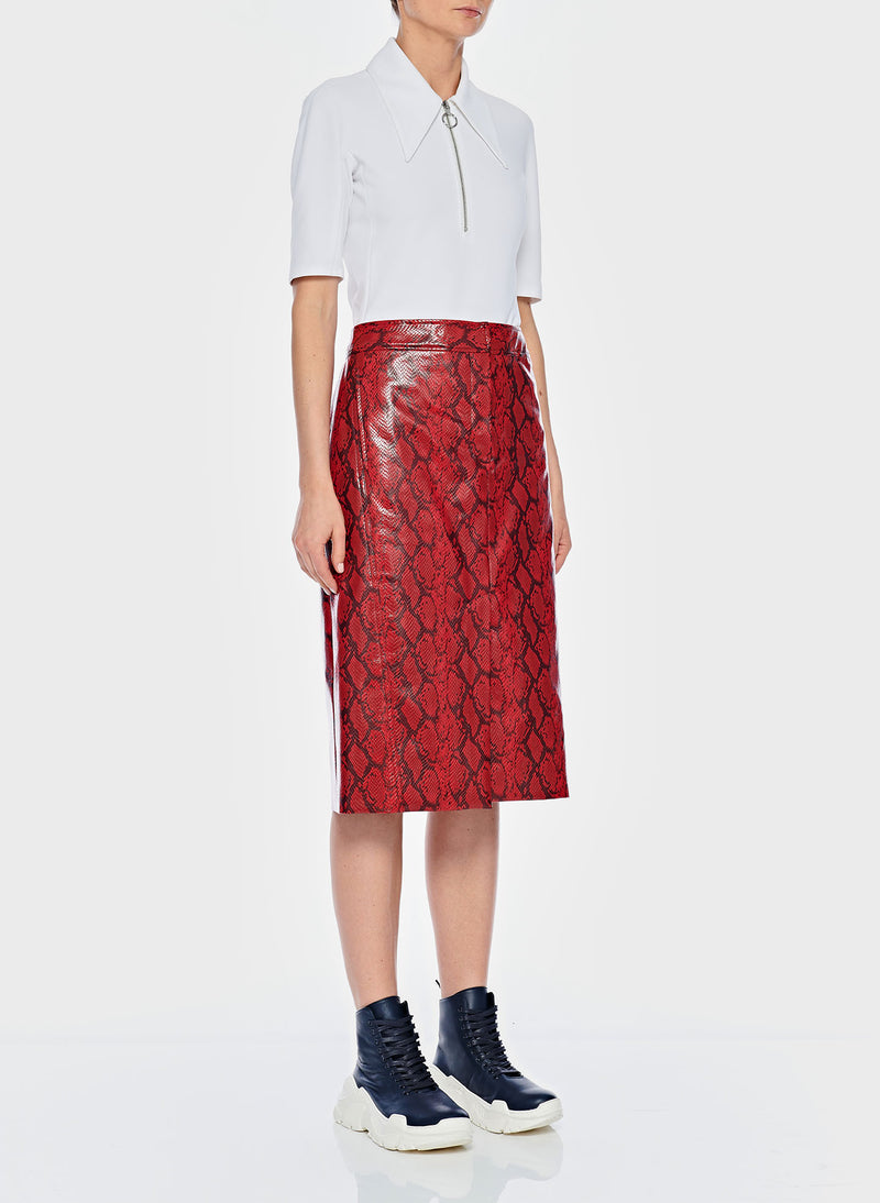 Python Croc Embossed Patent Skirt Red-2